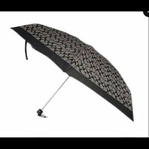 Coach Umbrella Signature Black and Gray Mini NWT